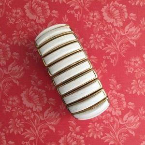 Crown Trifari Expansion Bracelet Gold Tone Ecru
